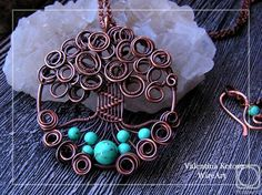 "Kotova Valentina.  Pendant ""Tree of life"" with turquoise beads"