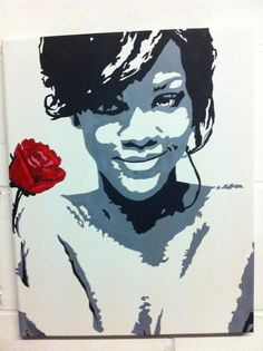Rihanna rose. Original, Handpainted artwork by artist Charlotte-Louise. SOLD £70