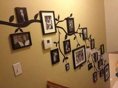 Maybe would let me do this down the stairs home ideas family tree wall photo decor Family Tree Photo, Photo Tree, Family Photos, Family Trees, Picture Tree, Family Portraits, Photo Deco, Stair Walls, Family Wall