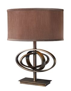 Dimond D1803 Jordan Table Lamp In Oil Rubbed Bronze With Oval Taupe Faux Silk Shade And Light Taupe Liner