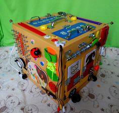 Бизибокс,развивающая игрушка для детей, бизиборд в кубе,  развитие мотор...