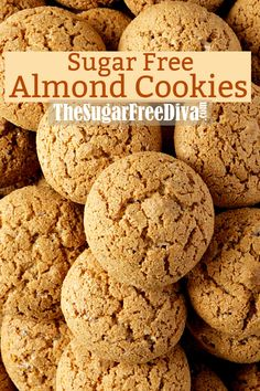 This recipe for Sugar Free Almond Cookies makes really delicious cookies too! Acookie This recipe for Sugar Free Almond Cookies makes really delicious cookies too! Sugar Free Cookies, Sugar Free Desserts, Sugar Free Recipes, Yummy Cookies, Sugar Free Pastries, Gf Recipes, Cookie Recipes, Healthy Recipes, Almond Flour Cookies
