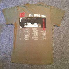Original Vintage 1983 U2 War Tour T-shirt  Tour dates on the back  T-shirt has no rips, stains or holes. Fabric is worn very thin. Graphics show