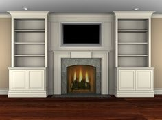 image result for build out fireplace mantel for great depth next to built ins fireplace