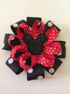 Mickey Mouse Hair Bow Large Mickey mouse stacked hairbow by on Etsy Baby Girl Hair Accessories, Girl Hairstyles, Hair Bows, Headbands, Little Girls, Mickey Mouse, Gift Wrapping, Rose, Unique Jewelry