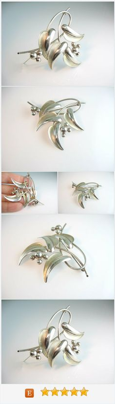 Leaf Jewelry. Sterling Silver Brooch. Modernist Leaf & Berry Spray. Forstner Pin. Vintage 1950s Retro Fashion.