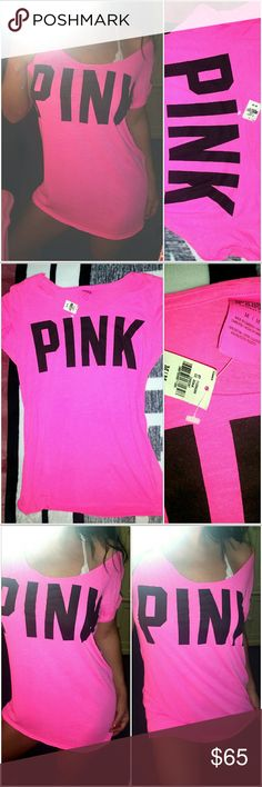 VICTORIA SECRET PINK NEON LOGO T SHIRT SLOUCHY M NEW WITH TAGS.. NEON PINK WITH BLACK LOGO.. OLD SCHOOL STYLE.. HTF! SIZE MEDIUM.. NO TRADES! PINK Victoria's Secret Tops Tees - Short Sleeve