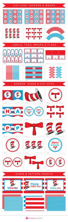Dr.Seuss Party Cat in the Hat Party Printables