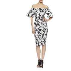 Nicole Miller Hummingbird Off Shoulder Dress (4 110 SEK) ❤ liked on Polyvore featuring dresses, white multi, print midi dress, white midi dress, off the shoulder dress, nicole miller and nicole miller dresses