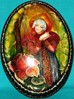"Russian lacquer miniature from the village of Fedoskino. Russian beauty in a kokoshnik, the traditional headdress, admires a beautiful flower. It's an illustration to the fairy tale ""The Scarlet Flower""."