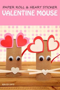 A fun paper roll heart mouse craft. It uses recycled items, googly eyes and heart stickers. Simple craft for kids as young as toddlers and preschoolers. | at Non-Toy Gifts