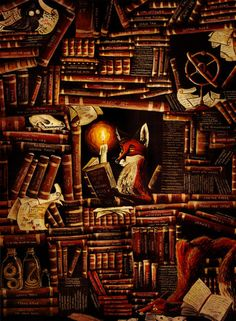 """fox reading """"The City of Dreaming Books"""" by Walter Moers (fantastic writer). I Love Books, My Books, Le Terrier, Dream Book, Fox Art, World Of Books, Anime Comics, Book Lovers, Book Worms"""