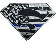 Patch Squad Men's Superman Police Shield Thin Blue Line Embroidered Patch Police Shield, Police Flag, Police Wife, Autism Service Dogs, Sheriff Badge, Blue Line Police, Blue Shield, Police Patches, Morale Patch