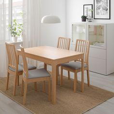 IKEA - EKEDALEN, Chair cover, Orrsta light gray, The cover is easy to remove, machine wash and put back on again. Dinning Table, Dining Set, Dining Chairs, Chaise Ikea, Petites Tables, Under The Table, Smart Design, Particle Board, Table Legs