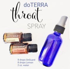 If you wake up with an icky, tickly throat this is my go to spray. Kids and adults alike will LOVE this. Throat spray: In a bottle combine 15 drops OnGaurd 15 drops Lemon Fill with distilled water. Shake and spray inside of mouth as needed. Essential Oil Spray, Doterra Essential Oils, Natural Essential Oils, Young Living Essential Oils, Essential Oil Diffuser, Essential Oil Blends, Doterra Oils, Doterra Blends, Osho