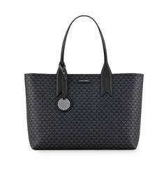 $234.33. EMPORIO ARMANI Leather Black Monogram Shopping Bag #emporioarmani #leather #bags