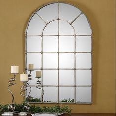 Found it at Wayfair - Uttermost  Barwell Arch Window Mirrorhttp://www.wayfair.com/Uttermost-Barwell-Arch-Window-Mirror-12875-UM13721.html?refid=SBP.rBAZEVPYb26mNR6cU88UAgAAAAAAAAAAAAAAAAAAAAA