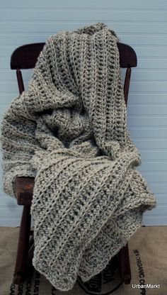 Oatmeal Wool Throw Interior Design Afghan Oversize. Etsy.