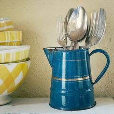 vintage enamelware pitcher petrol blue with gold by AtticAntics, $22.00
