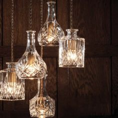 Wine decanter bottle pendant light chandelier with retro fabric braided cord