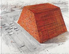 """Christo Dutch Mastaba (Project for Kröller Müller Museum - Otterlo - On New Large Parking Area) Drawing 1973 22 x 28"""" (56 x 71 cm) Pencil, charcoal, wax crayon and enamel paint Photo: Eeva-Inkeri © 1973 Christo"""
