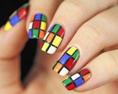 Copycat Claws: 31DC2014 Day 16 - Rubik's Cube Nail Art