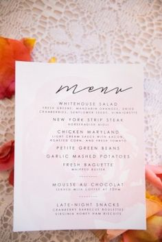 Rose colored wedding ideas for menu cards