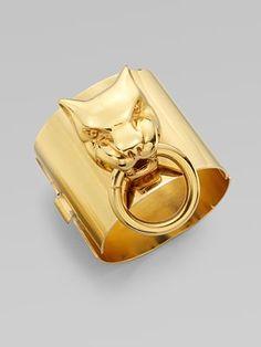 Stella McCartney  Tiger Door Knocker Bangle Bracelet  Saks #jewelry