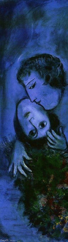 Marc Chagall (1887-1985), 1949, (detail) Paysage bleu (Blue Landscape). #Kiss