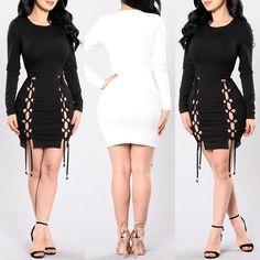Fashion Double Lace-up Slinky Bandage Bodycon Dress