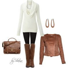 """Tan suede jacket and coordinating boots with an oversized sweater"