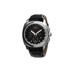 Rotary Evolution Gents Stainless Steel with Black Leather Strap Watch