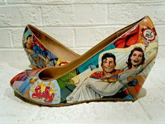 Custom Comic Superman Wedding/ Prom/ Just-For-Fun Shoes! Help end human trafficking! on Etsy, $60.00