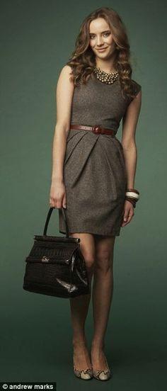 Grey dress and brown belt