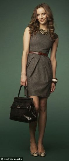 Grey dress and brown belt