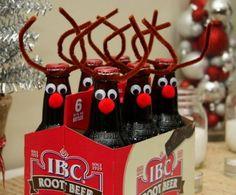 Bastelideen für DIY Geschenke zu Weihnachten, Bier als Rentiere verkleiden