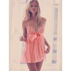 Victoria's Secret Pleated Babydoll Lingerie ($40) ❤ liked on Polyvore