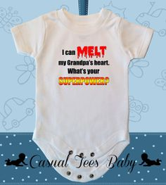 I Can Melt My Grandpa's Heart Funny Baby Bodysuit or Toddler Tee