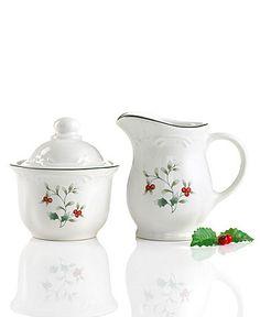 Pfaltzgraff Winterberry Cream & Sugar - for Christmas kitchen shelves <3