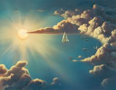 Vladamir Kush Surreal Painting Art Gallery Ship Clouds Surreal Reality Distortion Paintings, Vladimir Kush Art