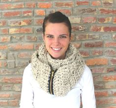 Wheatfield Infinity Zipper Scarf in Oatmeal by LauraAnnHandmade