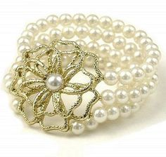 Vintage Ornate Flower and Pearl Bracelet