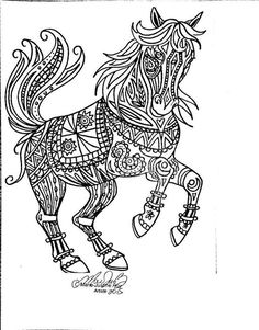 free coloring page tribal horse art by marie justine roy lineart illustrator and - Free Coloring Pages For Horses