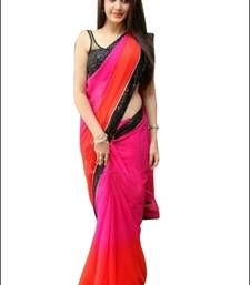 Buy Pink plain georgette saree with blouse bollywood-saree online Red Saree Plain, Plain Georgette Saree, Latest Indian Saree, Indian Sarees, Bollywood Sarees Online, Stylish Sarees, Casual Saree, Party Wear Sarees, Lady In Red