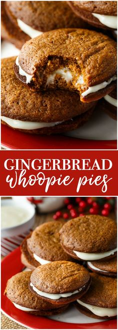 Gingerbread Whoopie Pies - Each bite is a burst of holiday flavours with the spicy gingerbread cake and the creamy, sweet richness of the cream cheese filling.
