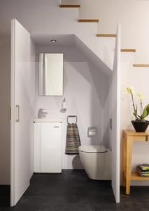 20 Incredible Bathroom Design Under Stairs For Unique Bathroom Inspiration – Home living color wall treatment kitchen design Space Under Stairs, Bathroom Under Stairs, Basement Bathroom, Bathroom Storage, Toilet Under Stairs, Basement Stairs, Open Basement, Remodel Bathroom, Basement Ideas