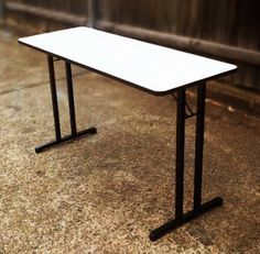 Meeting table.  Folding table for business events.  Also perfect as a signing table.  These narrow function tables fold for easy storage and are constructed from high quality melamine and powder coated steel. Great for conferences and meetings. Different sizes available.