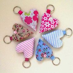 Lavender Heart Keychain More (Christmas Crafts Sewing - Christmas Crafts Sewing, Sewing Crafts, Heart Keyring, Fabric Hearts, Lavender Bags, Small Sewing Projects, Unique Gifts, Handmade Gifts, Personalised Gifts