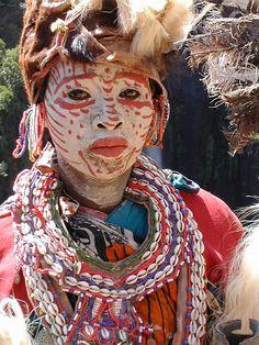 Africa | Kikuyu Woman Use of gastropod shells, specifically cowries, in traditional dress of the Kikuyu people of Kenya. | ©Angela7, via flickr