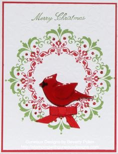 handmade Christmas card ... single layer ... Daydream Medallions Christmas Card by guneauxdesigns .... pretty wreath in red and green ... two-step bird punch for cardinal ... Stampin' Up!